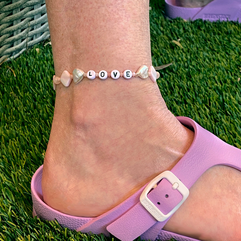 "Pearl Hearts ""LOVE"" anklet rose quartz, pink opal, mother of pearl, clear quartz gemstones"