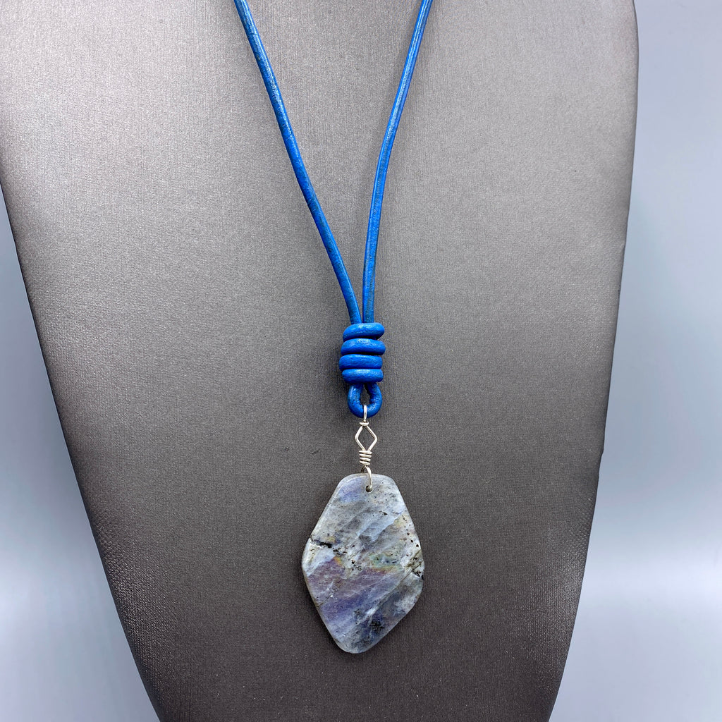 Labradorite Gemstone and Blue Leather Necklace Hand Wrapped w/ Sterling Silver and Sterling Clasp
