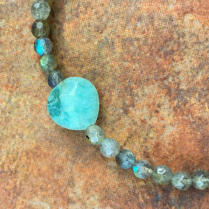 "Women's ""LOVE"" Aquamarine Heart & Labradorite Gemstone stretch bracelet"