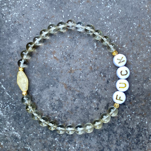 "Women's lemon quartz, gold fill, and yellow calcite ""curse"" Bracelet"