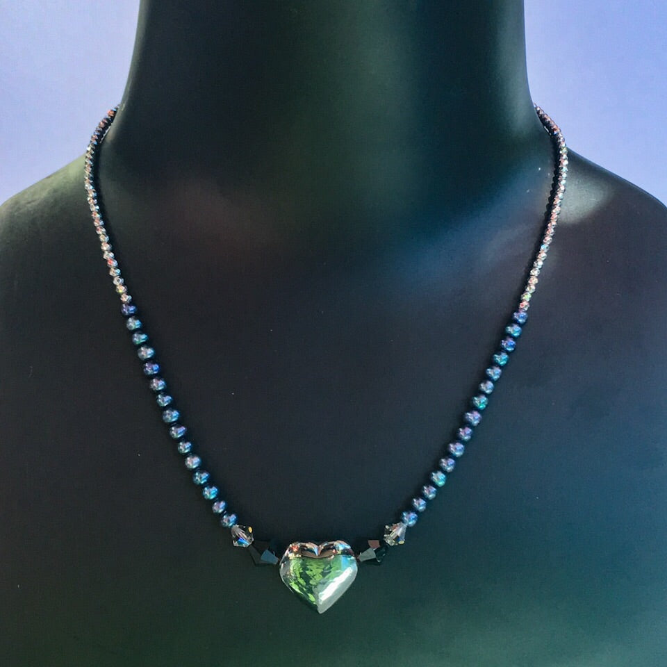 Women's Hematite Heart Gemstone Necklace