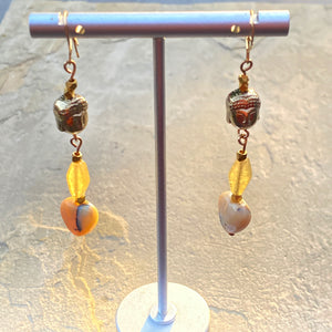 yellow Agate hearts, Hematite Buddha, yellow Calcite Gemstone earrings
