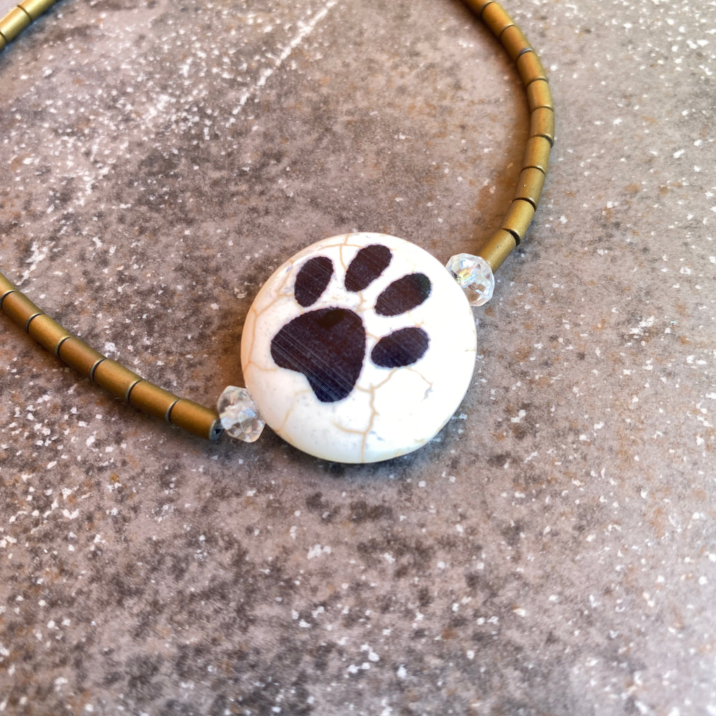 Painted Paw gemstone Anklet with gold hematite and citrine