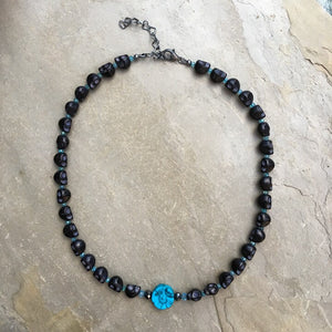 Women's genuine Black Diamond, Howlite, apatite and Howlite Skull necklace