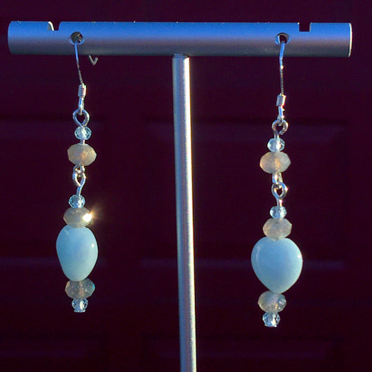 Aquamarine heart, Blue Topaz & Labradorite Gemstone sterling silver drop earrings