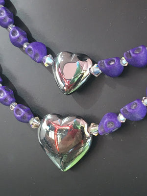 Purple Skull double Necklace