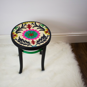 Bentwood stool, boho-chic finish with floral fabric top and black and green painted frame