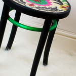 bentwood stool professionally refinished with authentic paint nocturnal and authentic paint bright green