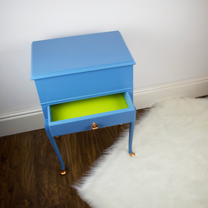 Vintage Sewing Box Table with Cabriole Legs