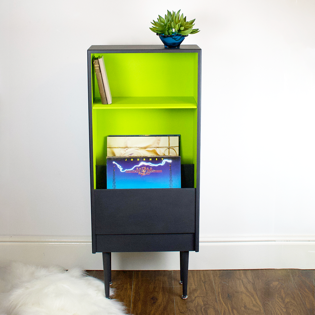 Retro mid century mod display shelf, vinyl storage, tapered dansette legs. Professionally refinished in ash dark grey and lime green.