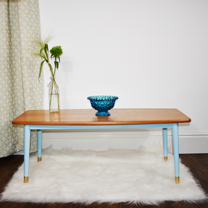 MCM teak coffee table, tapered legs, professional refinished in light pecan stain and Autentico Bleu Clair paint.