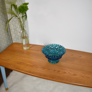 MCM teak coffee table, tapered legs, professionally refinished in General Finishes pecan stain and Autentico Bleu Clair paint on the base. Mid century mod.
