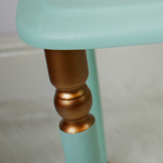 Small table from set of 3. Mint green-blue, copper accents on the legs.