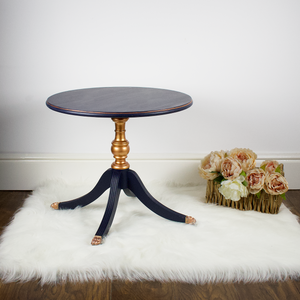 Navy and Copper Pedestal Side Table