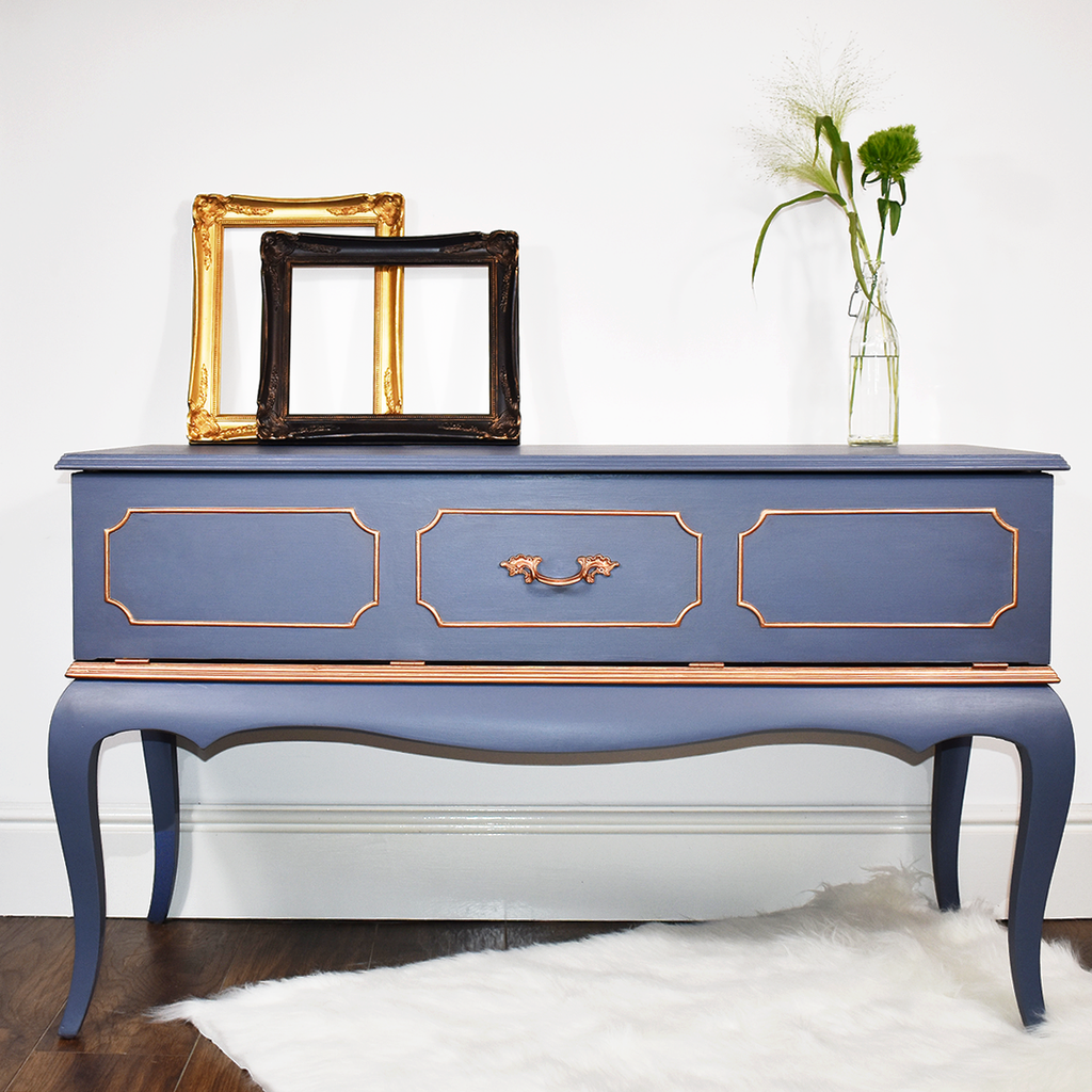upcycled radiogram sideboard, blueish-gray with copper accents