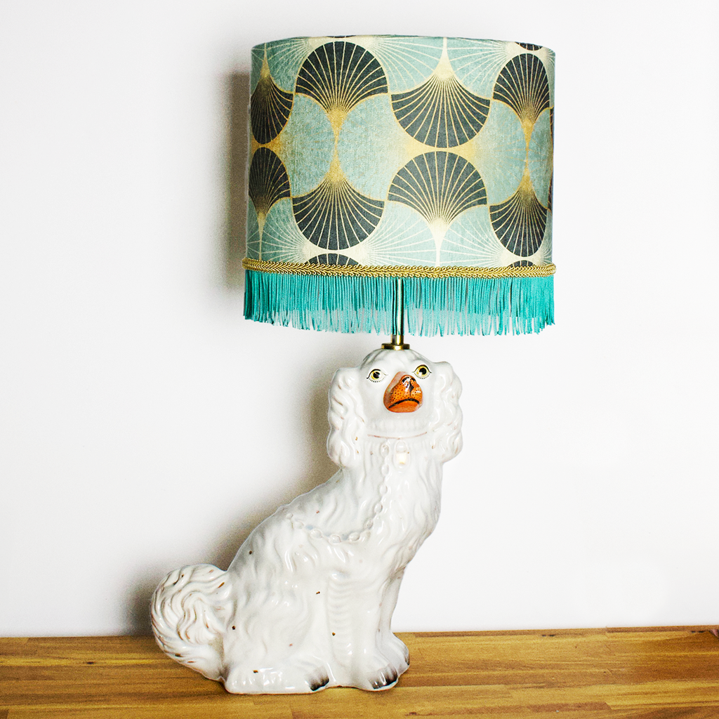 Antique Staffordshire Dog Lamp
