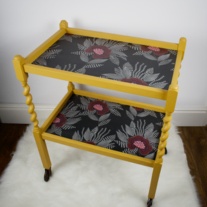 Barley twist tea trolley, vintage, mustard yellow, lined with black, white, pink geometric modern