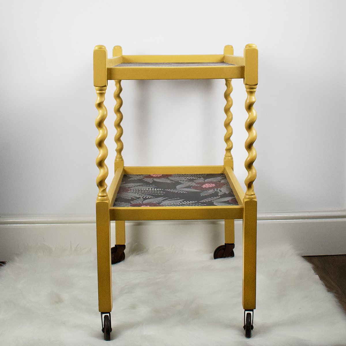 Vintage barley twist tea trolly, upcycled mustard yellow