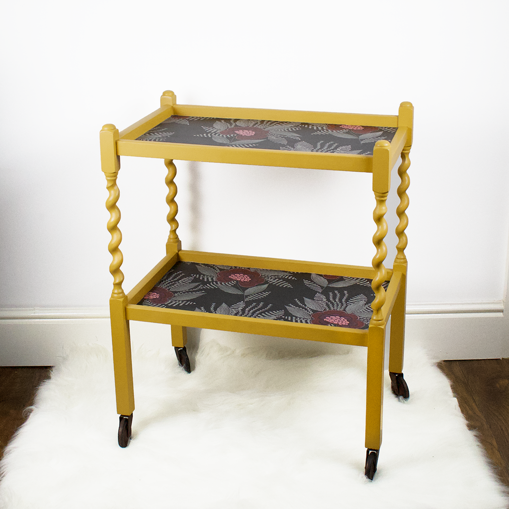 Vintage oak barley twist tea trolley, mustard yellow, fusion mineral paint mustard