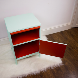 refinished utility furniture, mint and red bedside table with spacious cupboard