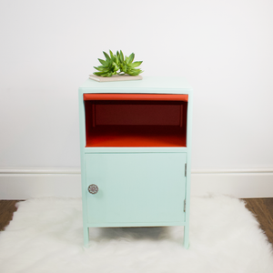 Utility Furniture Bedside table refinished in mint and red authentic paint
