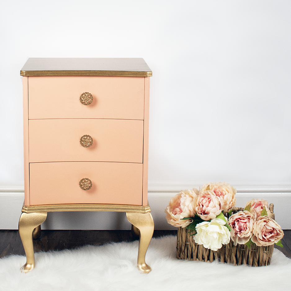 Vintage Bedside Table with Drawers