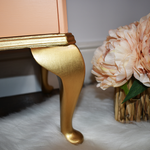 Queen Anne Leg painted brilliant gold, upcycled vintage bedside table