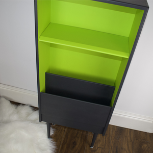 Retro mcm display shelf, vinyl storage, tapered dansette legs. Professionally refinished in ash dark grey and lime green.