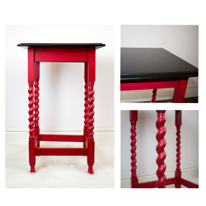 Tall, slim barley twist side table, refinished in Autentico Ruby Paint, General Finishes Espresso Stain table top