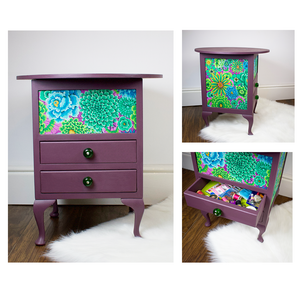 Upcycled vintage sewing box table painted in plum with bright green and blue floral decoupage.