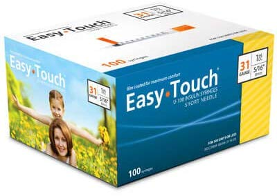EasyTouch® U-100 Insulin Syringes 31g, 5/16″ (8mm) (Pack 100)