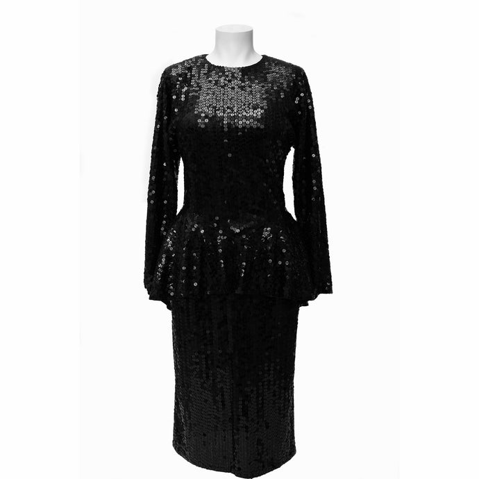 Vintage Oleg Cassini Black Sequin Dress 80s 1980s