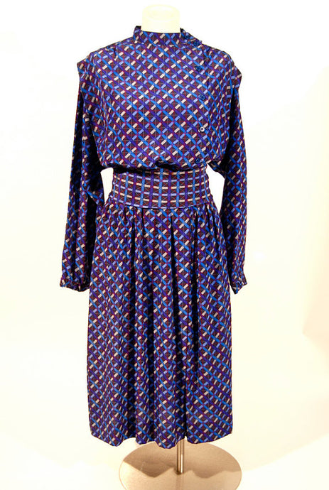 Ted Lapidus silk print maxi dress, circa 1970s-1980s