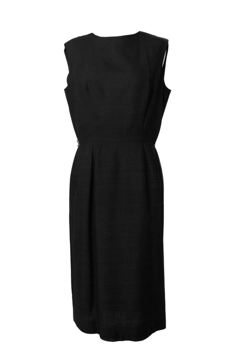 Saks Fifth Avenue doupioni silk black dress, circa 1950s-1960s