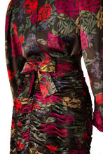 Load image into Gallery viewer, Albert Nipon silk floral print ruched dress