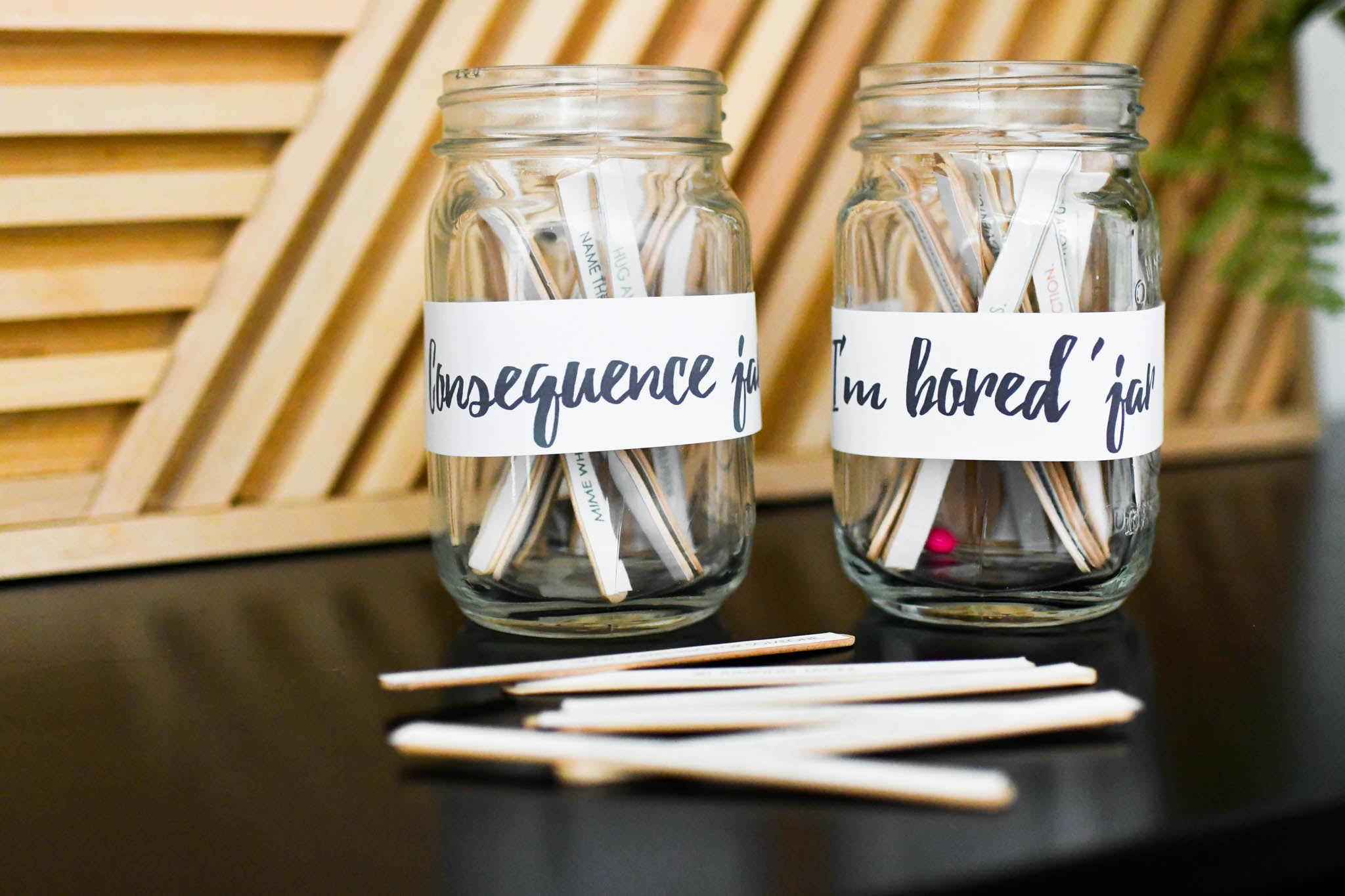 Consequence Jar and Boredom jar for kids in the summer