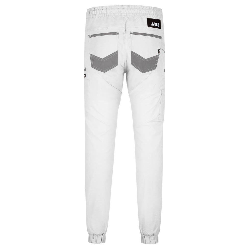 BAD SAVIOUR™ CUFFED ELASTIC WAIST WHITE PAINTERS WORK PANTS
