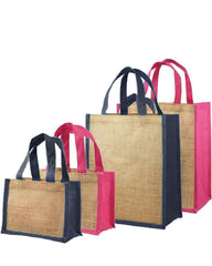 Jute Tote Bags with Colored Trim and Handles