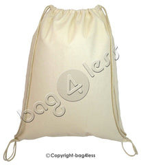 Cotton Value Sport Pack Large Size Drawstring Bag Natural