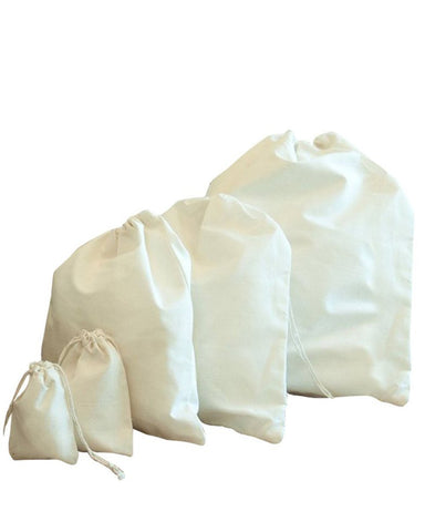 Natural Cotton Drawstring Pouches (Pack of 12)
