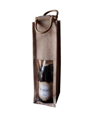 Wine Bags with Wooden Handles & PVC Window - WJ165