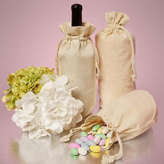 Cotton Wine Bags with Drawstrings Closure - WB2653