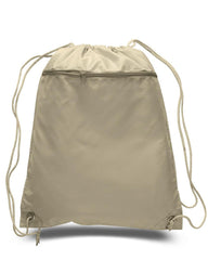 Polyester Drawstring Backpacks W/ Front Pocket - POL11