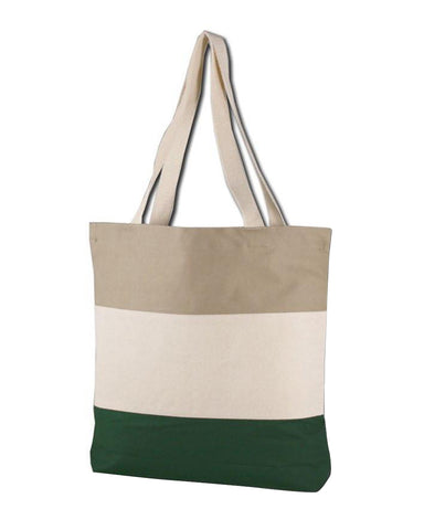 Tri-Tone Canvas Shopping Tote Bag - TG259