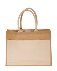 Jute Tote Bags with Canvas Front Pocket - TJ314