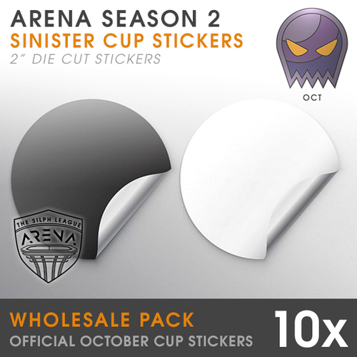 Wholesale Pack of Sinister Cup Badge Die-Cut Stickers