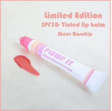 Load image into Gallery viewer, Limited Edition PLUMP IT -Tinted protective lipbalm - Sheer Rosehip with Handy Clip