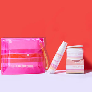 Skin Care Starter Kit: Cleansing wipes tub and hydrating mist bottle with pouch for life