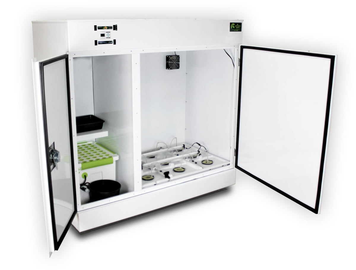The Bloombox from slight left angle with doors open showing the grow and vegetation chambers. White background