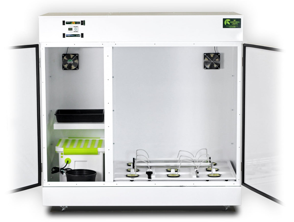 The Bloombox with doors open showing the grow and vegetation chambers. White background